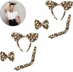 Bruine Relaxdays 2x luipaard verkleedset 3-delig diadeem - kattenoren luipaard - staart strikje
