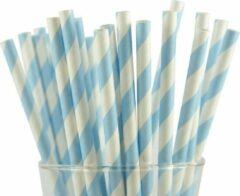 Joyenco Papieren rietjes lichtblauw gestreept - 50 stuks - duurzaam, 100% composteerbaar