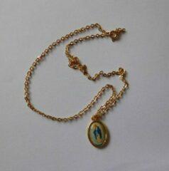 Van Santen Fashion Charm Jewelry Ketting met hanger Maria ovaal goudkleur.