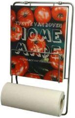 Zilveren Puhlmann keukenrolhouder met kookboekrek - Chroom