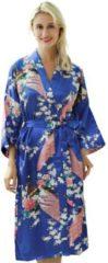 Spaansejurk NL Chinese Kimono badjas ochtendjas blauw satijn dames maat XL