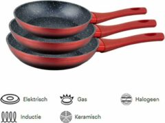 Royal Swiss Koekenpannenset 3-delig (rood) Marmeren coating