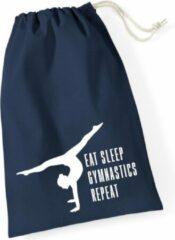 Marineblauwe Sparkle&Dream Leertjes/Lusjes Tasje 'Repeat' Navy, voor turnen en gymnastiek