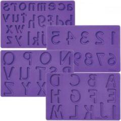 Paarse Wilton Garneergerei Set van 4 siliconen mallen cijfers / letters