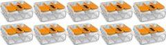 Quano WAGO - Lasklem Set 10 Stuks - 3 Polig met Klemmetjes - Oranje