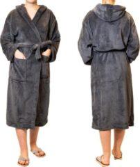 Antraciet-grijze Sorprese badjas – Teddy Microfleece – antraciet – badjas dames – maat L/XL – met capuchon