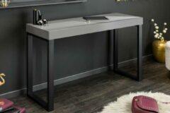Interieurs online Design console GRIJS BUREAU 120 cmBureau grijs hoogglans zwart frame