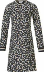 'hidden flowers' donkergrijs & oranje katoen-modal nachthemd met lange mouwen met all-over modern patroon en gestreepte rib halslijn