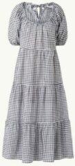 Mango - Lange aangerimpelde jurk met gingham ruit in zwart-wit