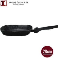 Zwarte Imperial Collection: Marmer Gecoate Grillpan met Marmercoating - ⌀ 28cm - Vast Handvat - Pan zonder Deksel - Inductie Grillpan - PFOA / LOOD-vrij