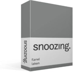 Antraciet-grijze Moment By Moment Snoozing flanel laken Antraciet Lits-jumeaux (240x260 cm) (175 antraciet)