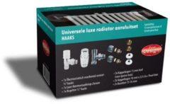 Zilveren Best-design Universele luxe radiator-aansluitset midden-onder-haaks