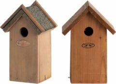 Bellatio Design Voordeelset van 2x stuks houten vogelhuisjes/nestkastjes 27 x 17 cm/22 x 16 cm - In lichtbruin en houtkleur