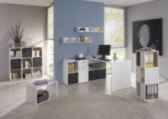Büromöbel Set weiss mit Schreibtisch und Regalen FMD Exl/ Mike/ Tower/ Mega/ Point