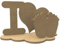 Naturelkleurige Gomille MDF Figuren I Love Set 24x14 cm