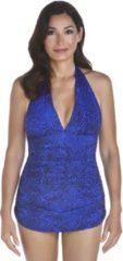 Blauwe Coolibar - UPF 50+ Vrouwen Ruche Halter Badpak - Blauw Floral Motif