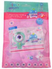 Huismerk 6 Stuks - Puzzels - I Love Monsters Puzzels - 50 stukjes - Uitdeelcadeautjes - Uitdeel Traktatie voor kinderen - Meisjes