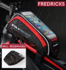 Fredricks - ZoliKnight Praktische en lichtgewicht telefoontas / telefoonhouder voor op fiets frame (elektrische fiets / mountainbike / toerfiets). Geschikt voor telefoons / smartphones tot een grootte van 5.8 Inch - Rood - Inclusief regenhoes
