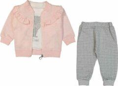 Merkloos / Sans marque Baby, 3 stuks, baby kleding jongens, baby kleding meisjes, babykledingset, babypakje, babycadeau, baby jogging, baby born, baby broekje, baby top, baby slab, comfortabel, zacht, kleurrijk, roze, 9-12 maanden, maat 80 cm