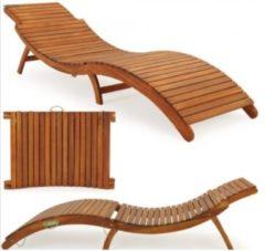 Bruine Merkloos / Sans marque Loungebank ergonomisch van Acacia hardhout