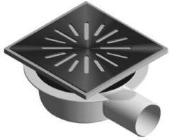 Zilveren Aquaberg kunststof put /opzetstuk met zijaansluiting 50mm 15x15cm met PPC reukslot 32mm RVS rooster vert./hor zonder verst 4016
