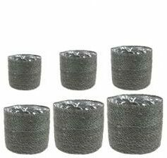 Grijze Plantenwinkel.nl Pot stef grey bloempot binnen set van 6