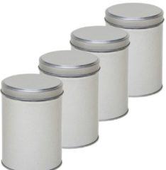 4x Zilver rond opbergblik/bewaarblik 13 cm - Zilveren koffiepads/koffiecups voorraadblikken - Voorraadbussen