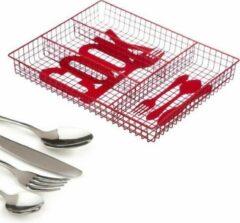 Rode Decopatent® Bestekbak 4 Vaks - COOK - Besteklade Organizer - Bestek Opbergen - Opbergbak - Bestekcassette - Metaal - 26.5x32.5x4.3