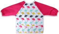 Slab met mouwen | KliederZ lange mouwslab 6 - 18 mnd | meisje babyslab roze Paraplu LB05a
