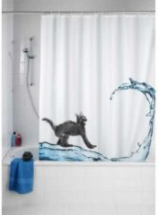 WENKO Anti-Schimmel Duschvorhang Cat, 180 x 200 cm