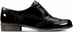 Zwarte Clarks Hamble Oak Dames Veterschoenen - Black Pat - Maat 39.5