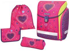 Rosa Herlitz Midi Plus Schulranzen-Set 4-tlg Pink Hearts Herlitz pink hearts