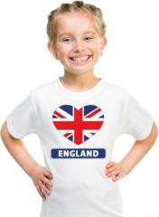Shoppartners Engeland kinder t-shirt met Engelse vlag in hart wit jongens en meisjes XL (158-164)