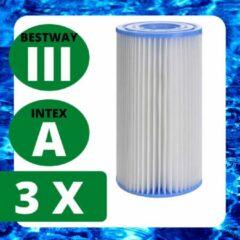 Blauwe Merkloos / Sans marque 3 x Zwembadfilter - Intex Type A (29000)