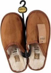 Apollo Cognac bruine instap sloffen/pantoffels met bont voor dames - Cognac bruine slippers voor dames 41-42