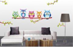 De Fabriek Muurstickers Gekleurde uilen - Muursticker