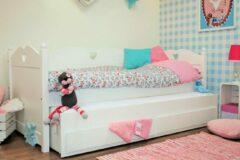 Lilli Furniture - Emma bedbank met uitschuifbaar logeerbed en 2 lades - inclusief 2 lattenbodems - 90x200cm - wit