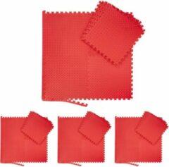 Rode Relaxdays 32x fitness mat set - vloermat - beschermmat - sportmat - puzzelmat – schuimstof