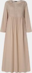 Beige ZANZEA Solid Pleated Button Casual Long Dress