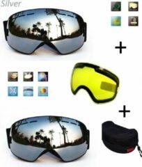 Improducts Ski bril met box en EXTRA lens Smoke Zilver frame Zwart F type 7 Cat. 0 tot 4 - ☀/☁
