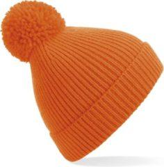 Result Gebreide warme wintermuts in het oranje met pompom voor volwassenen - Damesmutsen / herenmutsen - Polyacryl