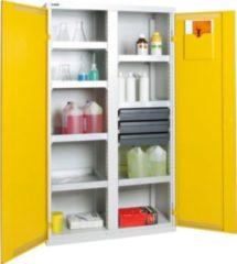 Stumpf Metall Stumpf® Basic-Plus Umweltschrank mit 7 Auffangwannen (je 10 Liter Volumen), lichtgrau / gelb - 180 x 100 x 50 cm