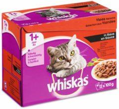 Whiskas Adult Vlees Selectie Groenten in Saus maaltijdzakjes multipack 12x100g 1x4
