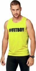 Shoppartners Neon geel sport shirt/ singlet #Fitboy heren 2XL