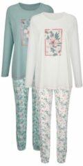 Pyjama's per 2 stuks Blue Moon Ecru::Jadegroen::Oudroze