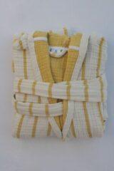 Gele Merkenloos 4 lagen mousseline badjas (L/XL) met capuchon 100% Katoen