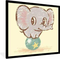 PosterMonkey Foto in lijst - Een illustratie van een babyolifant in het circus fotolijst zwart 40x40 cm - Poster in lijst (Wanddecoratie woonkamer / slaapkamer)