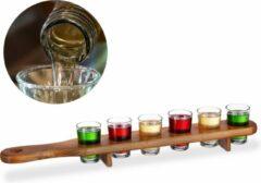Bruine Relaxdays shotglas set met plank - serveerplank - 6 glaasjes - 4 cl shotglaasjes