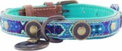 Dwam Halsband Boho Juan Blauw&Bruin - Hondenhalsband - 29-35x2.0 cm