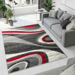 Tapiso Dream Vloerkleed Woonkamer Slaapkamer Donkergrijs Rood Golven Abstract Design Modern Sfeervol Duurzaam Praktisch Hoogwaardig Tapijt Maat - 250 x 300 cm